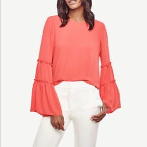 Ann Taylor tiered bell sleeve blouse